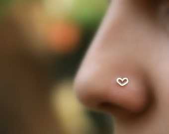 Nose Ring - Nose Piercing - Nose Stud - Tragus Piercing - Cartilage Earring - Helix - Small Nose Stud - Sterling Silver Valentine Heart