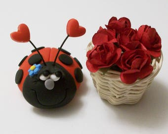 Love bug & her rose basket, Miniature polymer clay Ladybug and roses, fairy garden, terrariums