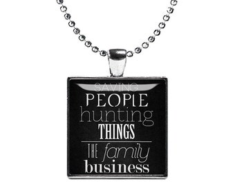 Supernatural Necklace Pendant Saving People Hunting Things Fandom Jewelry Cosplay Fangirl Fanboy