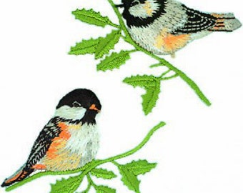 Birds on a Branch Embroidered Iron On Applique Pack of 2