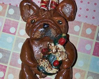 Whimsical Folk Art Frenchie French Bulldog Reindeer Candy Cane Ornament Ooak