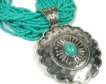 Turquoise Concho Necklace - Multistrand - Beaded - Southwest - Cowgirl - Chunky - Layered - Stamped Concho with Turquoise Cabochon - Boho