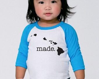 Hawaii 'Roots' or 'Made' Baby Toddler Kid Poly Cotton 3/4 Sleeve Baseball Shirt - Baby Shirt