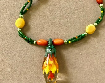 Green, Yellow and Orange Lampwork and Seed Bead Necklace
