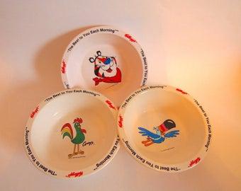 Three Vintage Kellogg's Cereal Bowls