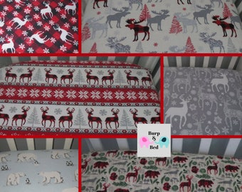 Holiday Winter Woodland Flannel Crib Sheets, Reindeer, Polar Bears, Penguins, Deer, Deer, Snowflake, Buffalo Plaid, Nordic, Moose
