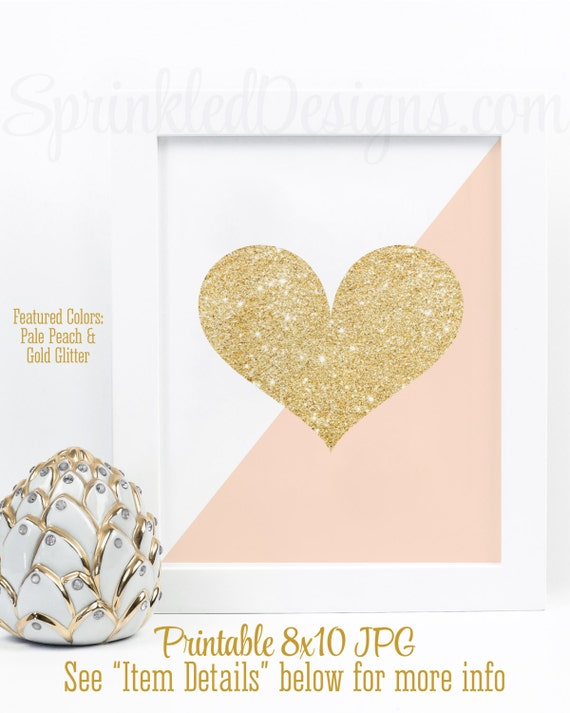 Gold Glitter Heart Print Peach & Gold Nursery Decorations