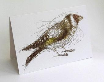 Goldfinch Card, Greeting Card, Bird Art Card,  Bridget Farmer Cards, British Bird, Irish Bird, Finch