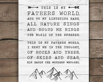 This is my Fathers world, wall print, farmhouse style. rustic wood