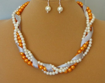 ON SALE BRIDESmaid Gift Ivory & Burnt Orange Pearl Twisted Braided Mother Of Bride WEDDing Maid Of Honor Bridal Necklace Set