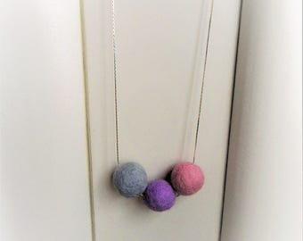 Pink Felt Necklace Pink Textile Necklace Textile Jewelry Felt Jewelry