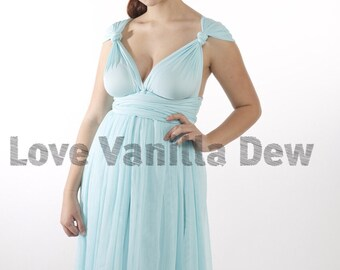 Bridesmaid Dress Infinity Dress Pastel Blue Tulle Knee Length Wrap Convertible Dress Wedding Dress