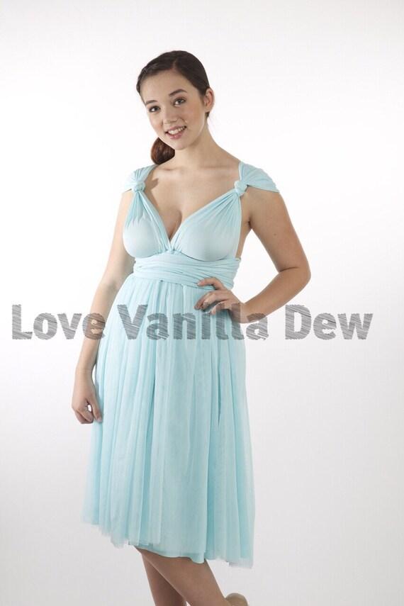Brautjungfer Kleid Infinity Kleid Pastell blau Tüll Knie Länge