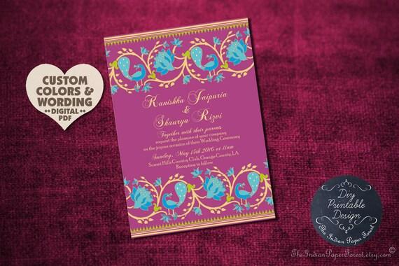 Modern Indian Wedding Invitations Uk: DIY PRINTABLE Indian Wedding Invitation Paithani Lotus Peacock