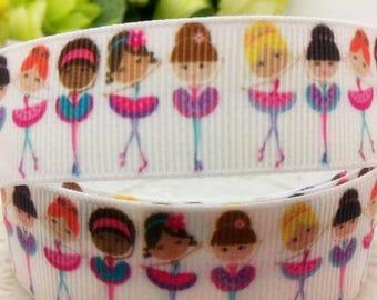"Ballet Grosgrain 7/8"" Printed Ribbon, Ballerina Ribbon"