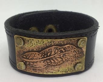 Black Leather Cuff Bracelet for women Leather and metal cuff Leather and copper bracelet Leather Bracelet for her Copper cuff Gift for her