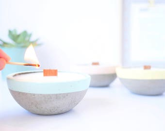 Concrete soy candle, natural vegan candle, essential oil scented candle, cement candle, minimalist, design home decor, industrial wedding