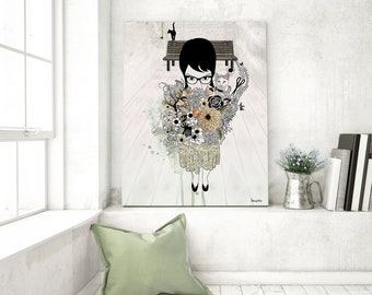 Giclee Fine Art Print, Inspirational Art, Romantic Large Artwork, Contemporary Art, Giclee Art, Girl with Flowers
