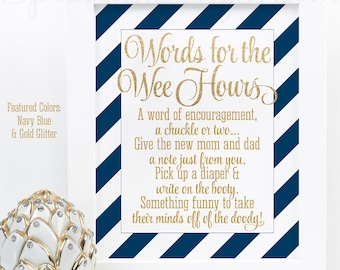 Baby Shower Games Words For The Wee Hours, Words of Wisdom, Late Night Diapers, Navy Blue Gold Glitter Printable Baby Boy Shower Game Ideas