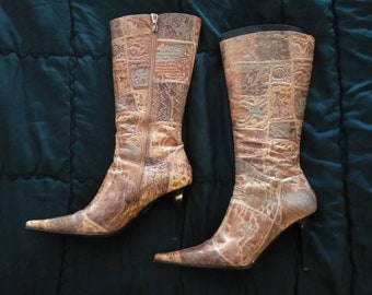 Vtg LORIBLU Exotic Embossed Leather Boots Italy 40