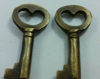 """Two Unique Small Antique Vintage Style Brass Heart, Love, Commitment Skeleton Key to my Heart,Jewelry component  1-13/16"""" long #L6"""