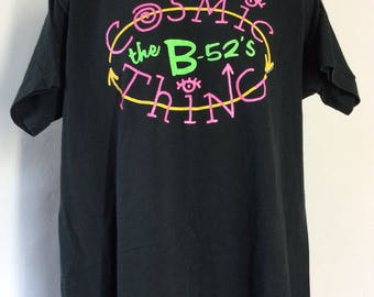 Vtg 1989 The B-52's Cosmic Thing Concert T-Shirt Black XL 80s Alternative Indie College Rock Band