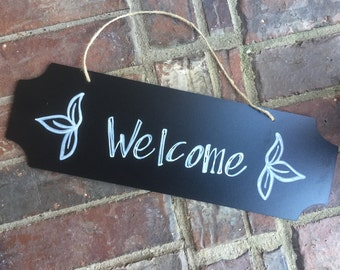 Welcome Front Door Sign - Hand Written - Door Hanger