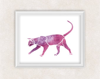 Cat Watercolor Art Print in Pink & Purple - 8x10 - Home Decor - Wall Art 8x10 PRINT - Item #711C
