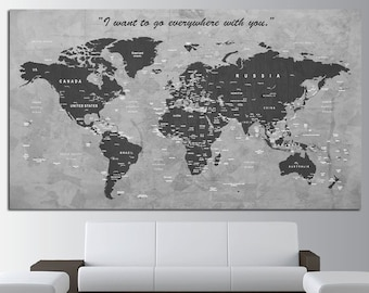 Large canvas wall art production by rainbowartstore on etsy custom quote push pin world map canvas print world map wall art set world map print gumiabroncs Choice Image
