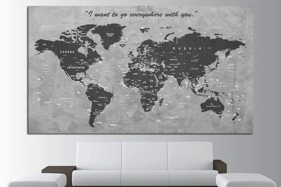 Custom quote push pin world map canvas print world map wall like this item gumiabroncs Images
