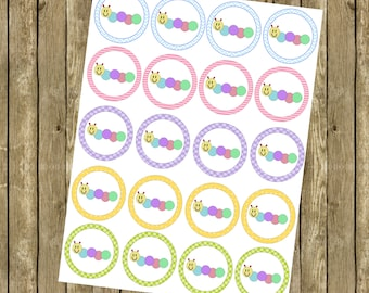 Baby Einstein Caterpillar Pastel Cupcake Toppers / Party Tags INSTANT DOWNLOAD Printable