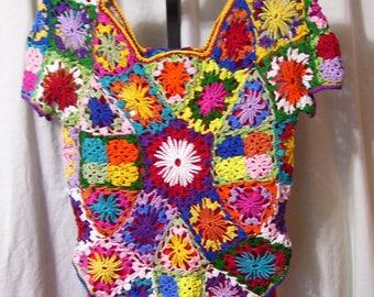 Handmade, Crochet Top, Rainbow Colors, Size Medium, Casual, Office, School, Custom Orders Offered