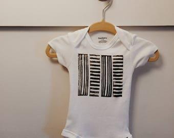 Baby Onesie -Hand Stamped-  0-3 Months  - Creative Baby Shower