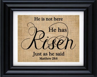 Matthew 28:6 - He is Risen - He is Not Here - Christian Wall Art - Bible Verse - Scripture Art - Hope Sign burlap print -7Z