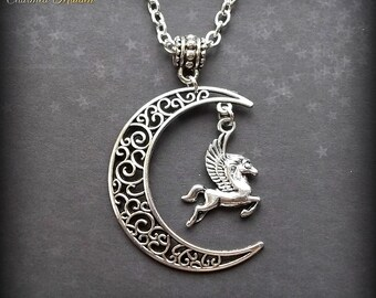 Moon & Pegasus, Moon Necklace, Pegasus Necklace, Pendant, Silver Moon, Crescent Moon, Filigree, Flying Horse, Mythical Creature,Pagan,Wiccan