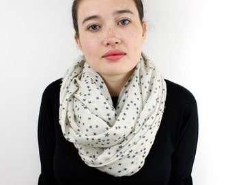 Scarf - White Tiny Star Print, Gift For Her, 50709
