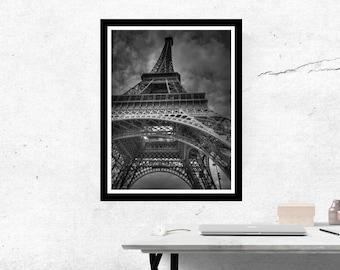 Eiffel Tower Print - Eiffel Tower Wall Art - Paris print - Paris Wall Art - Black and White Eiffel Tower print