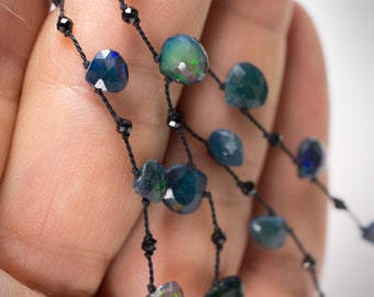 Black Opal Necklace, Teal Colored Opal Necklace, Ethiopean Opal Necklace, Long Layering Opal Necklace, Hand Knotted Gemstone Necklace