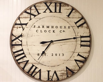 Extra Large Roman Numeral Farmhouse Clock Co. 30-40 inch wooden clock
