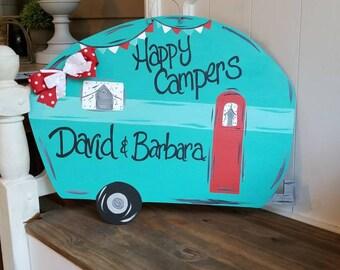 Camper door hanger, happy campers