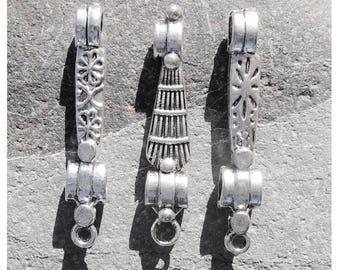 5 barres connecteurs 2 trous 1 anneaux argent antique