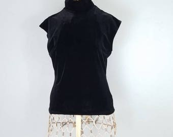 Vintage cap sleeve black velvet high necked shirt