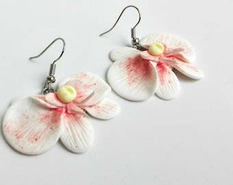 Polymer clay orchid earrings, polymer clay dangle orchid earrings, flower earrings, orchid jewelry, orchid earrings, polymer clay orchid,