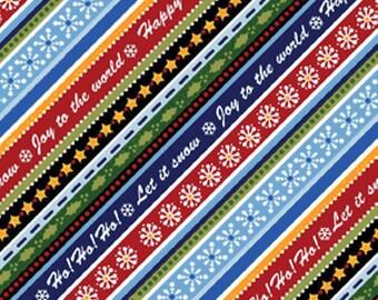 SALE!! Half Yard Winter Wishes - Diagonal Winterword Stripe in Blue / Red - Cotton Quilt Fabric - Michele D'Amore - Benartex Fabrics (W698)