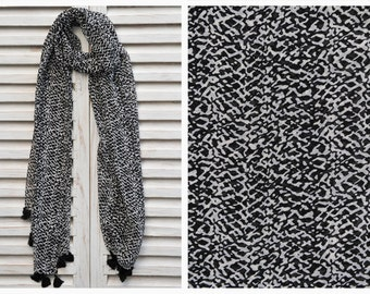 SALE 50% OFF Black and White Scarf, Long chiffon scarf, Black print scarf, Fashion scarf, Summer Scarves, Birthday Gift