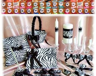 Zebra Weddings Pillow, Basket, Guest Book, Unity Candle, Cake Set, Flutes, Bridal Garters, 14pcs, custom colors