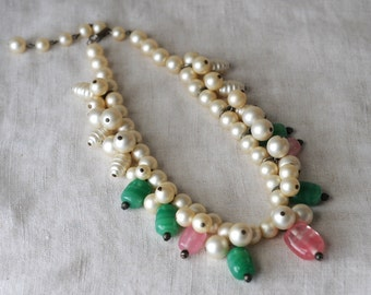 Vintage Pearl Choker, Pink Glass, Greenery, Glass Beads, Faux Pearl, Bib Necklace, Statement Necklace, KC077