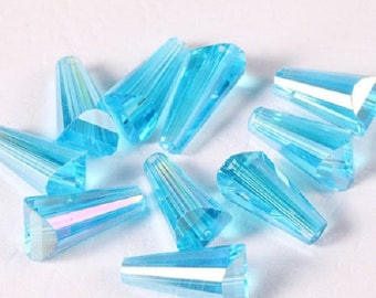 set of 4 glass Crystal beads tapered the 8x15mm