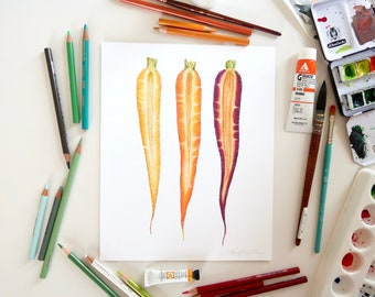Rainbow Carrot Illustration // Food Art Print, spring, vegetables, botanical, farmhouse, rustic