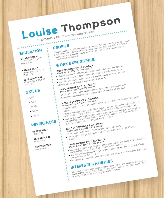 CV Lebenslauf modernes blau Template Louise Thompson Instant